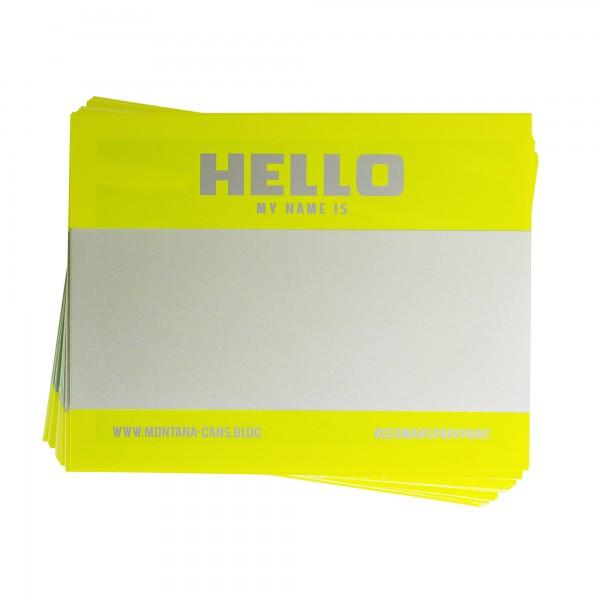 Montana Hello My Name Is Sticker Neon Yellow