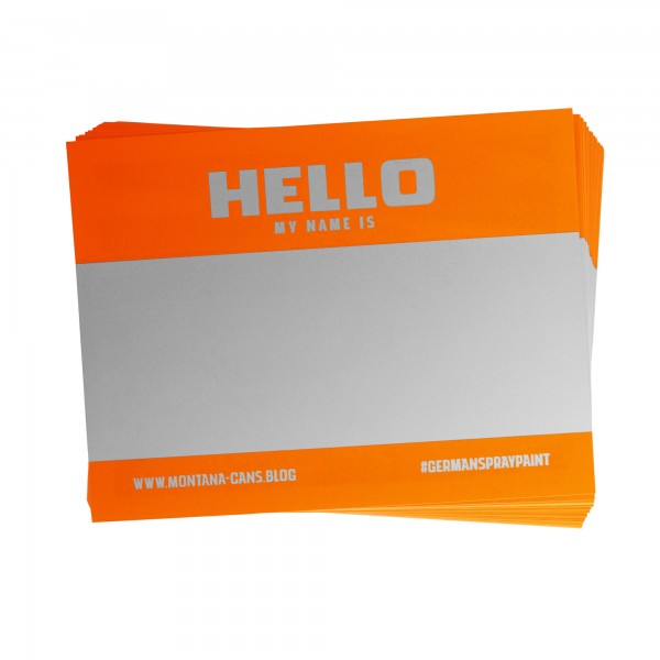 Montana Hello My Name Is Sticker Neon Orange